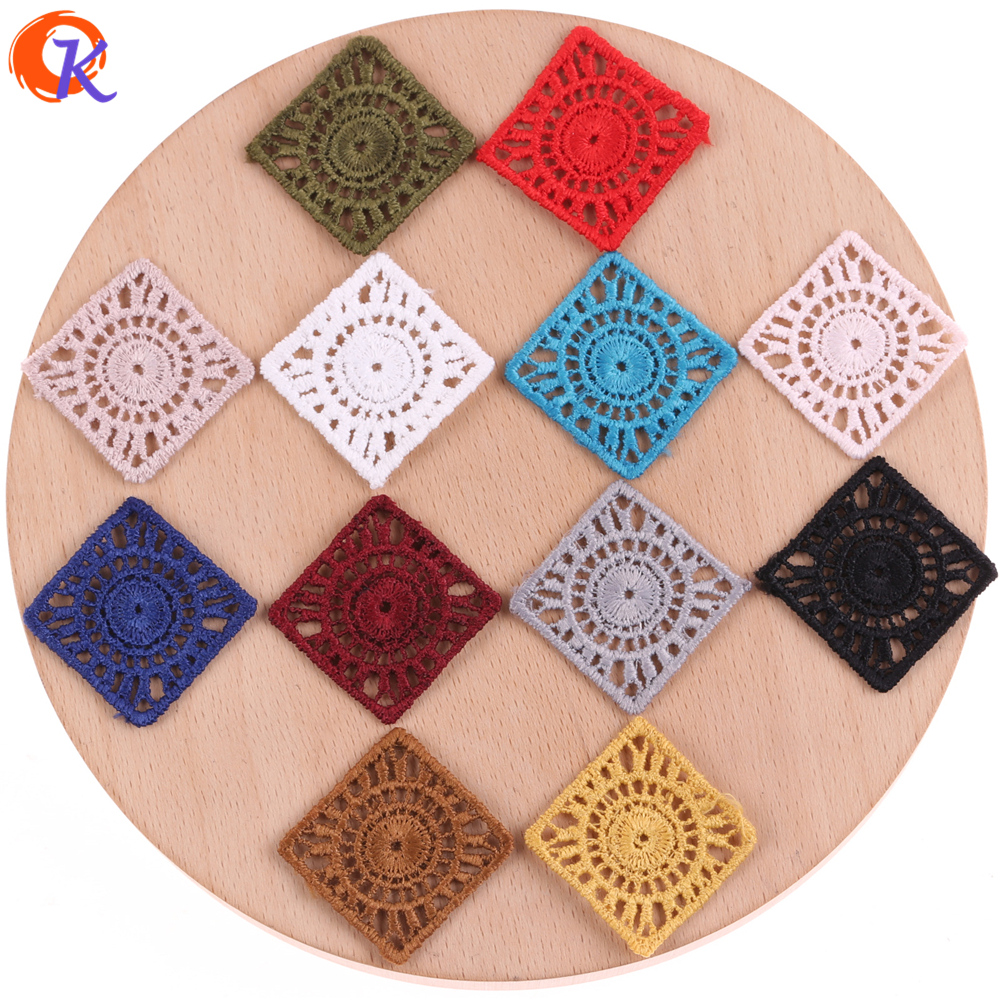 Cordial Design 100Pcs/Lot 26MM Jewelry Accessories/Earring Parts/Square Cotton Thread Flower Slice/Hand Made/Earring Findings