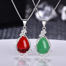 Natural Chalcedony Gem Pendant Necklace for Women Fashion Jewelry Drop Red Carnelian Necklace Green Pendant Wholesale retro gem inlaid round pendant necklace for women