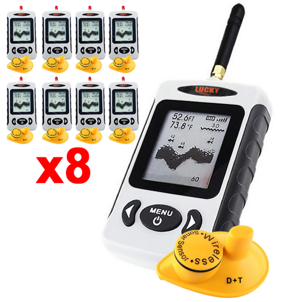 8 x pieces LUCKY FFW-718 Digital Wireless Dot Matrix Fish Finder Sonar Radio Sea Bed Contour Live Upate 131ft / 40M Fishfinder