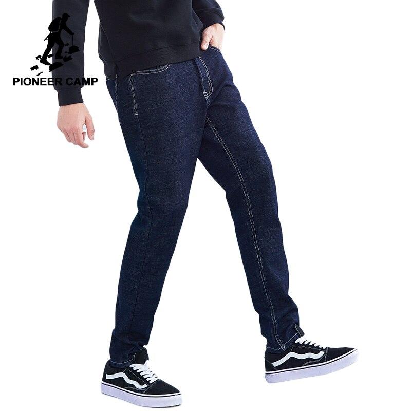 Пионерский лагерь Новые зимние джинсы брендовая мужская одежда однотонные флисовые джинсы Штаны для мужчин качество Теплые плотные брюки ...