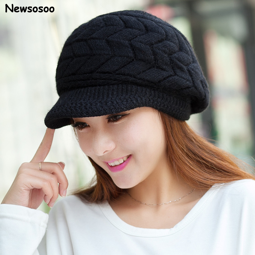 New Winter Women's Rabbit Fur Hat Female Thick Warm Knitted Wool Caps Skullies Fashion Brand Cute Elegant Caps For Lady Beanies princess hat skullies new winter warm hat wool leather hat rabbit hair hat fashion cap fpc018