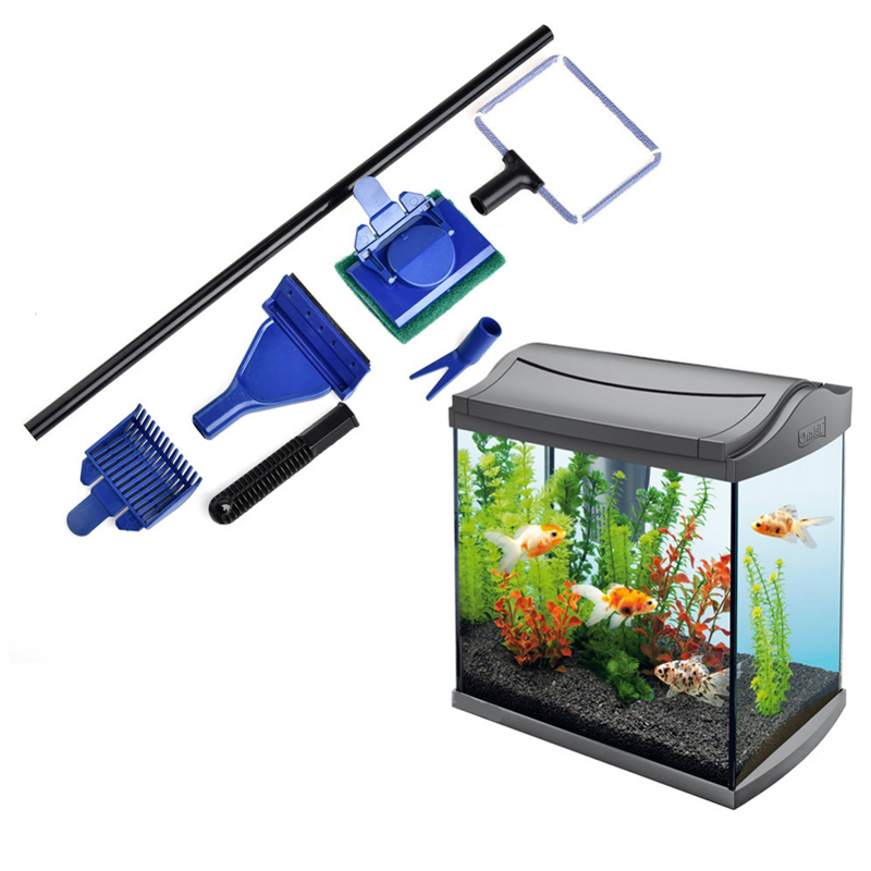 Aquarium Cleaning Set Gravel Algae Scraper Fish Tank Fish Net Sponge Brush Aquatic Glass Cleaning Tools Aquarium Cleaning Kit