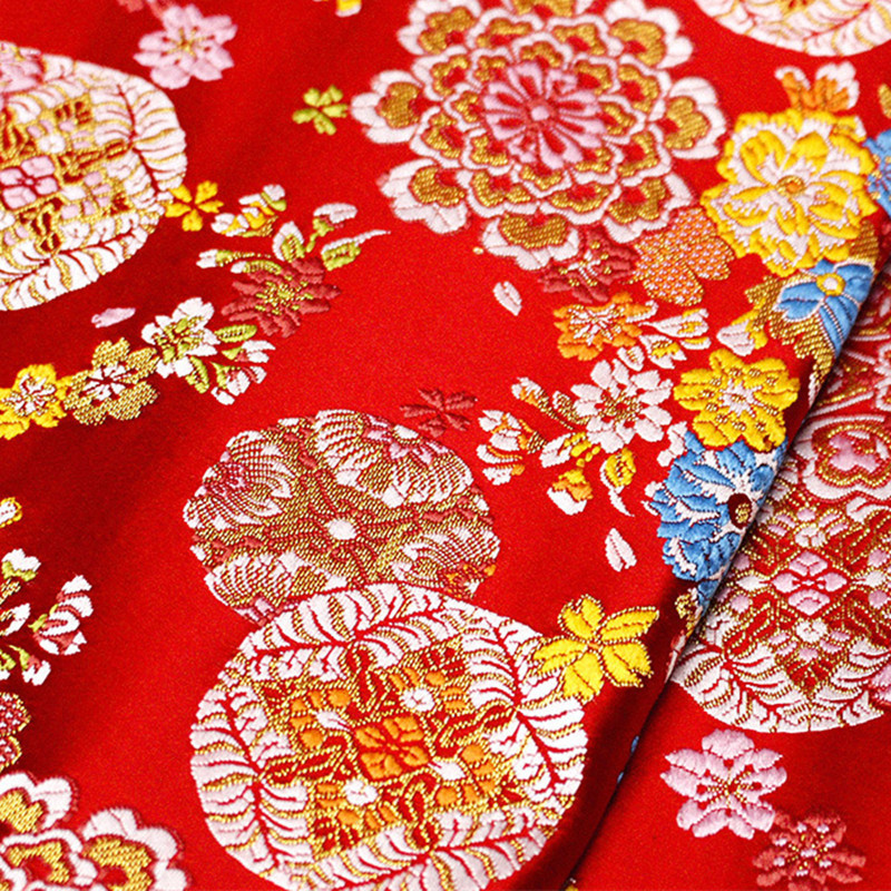 CF530 1meter Red Florals Jacquard Nishijin Brocade Fabric Chinese Wedding Cheongsam/Japanese Kimono Fabric DIY Sewing ClothCF530 1meter Red Florals Jacquard Nishijin Brocade Fabric Chinese Wedding Cheongsam/Japanese Kimono Fabric DIY Sewing Cloth