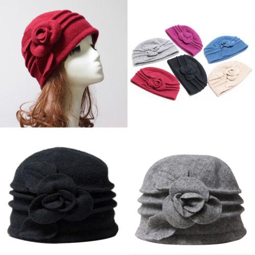 982124523d0 2018 New Fashion Winter Warm Womens 1920s Vintage Flapper Cloche Downtown  Abbey Wool Bucket Hat