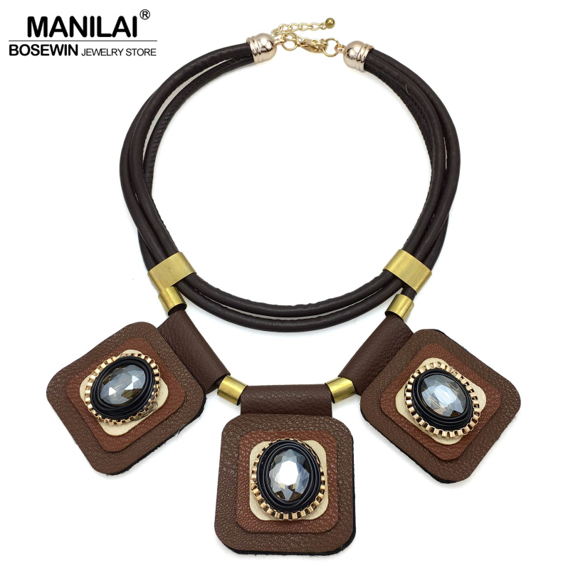 MANILAI 2017 Boho Chokers Necklaces Ethnic Jewelry Fashion Multi Layers Leather Crystal Statement Necklaces Maxi Accessories
