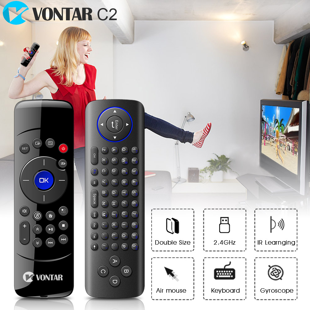 New Arrival 2.4GHz Wireless Fly Air Mouse mini Keyboard Remote Control with IR Learning Function for Android TV Box PC Computer vontar 2 4ghz fly air mouse wireless keyboard c2 remote control with ir learning function for smart tv android tv box pc