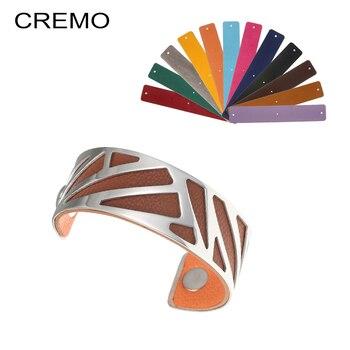 eb0bca456cea Cremo cinta brazaletes intercambiables Reversible de cuero brazalete  delicada accesorios de acero inoxidable eterna pulseras y brazaletes