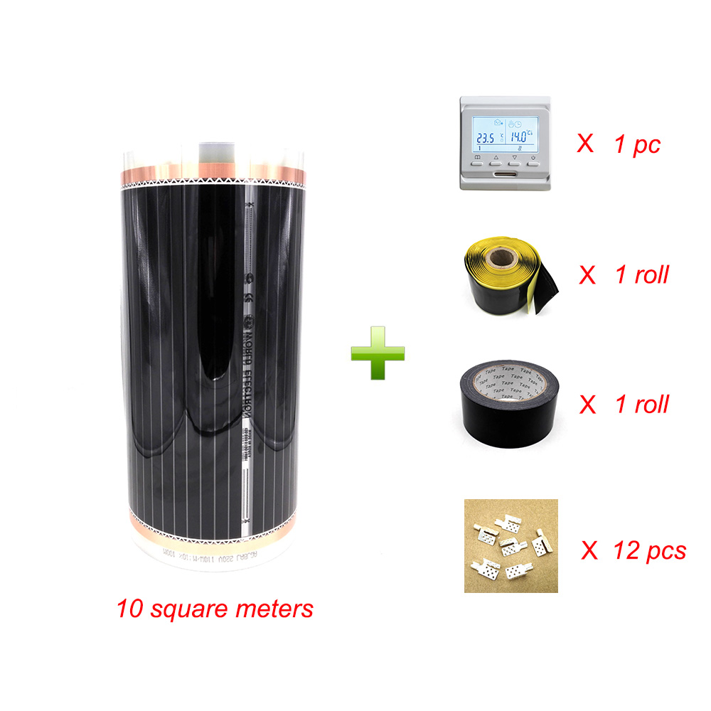 10m2 Electrical Far Infrared Carbon Fiber Film kit with Thermostat of Floor Heating System 50cm 80cm