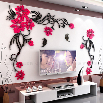 Creative flower 3D stereo acrylic wall sticker background warm decoration Large Size Mural Home Decor Living Room Wall Decals 18