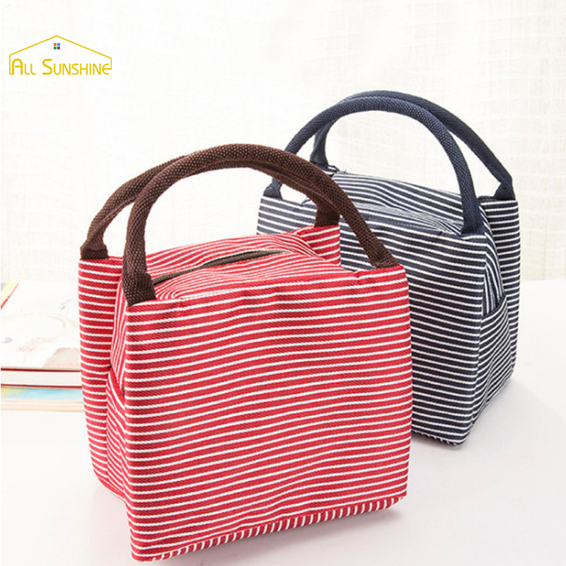 Portable Stripe Waterproof Canvas Insulation Large Aluminum Foil Thick Thermal Food Picnic Office lunch Bags For Women Kids