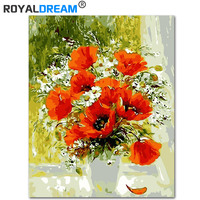 ROYALDREAM Red Poppy DIY Painting By Numbers Acrylic Paint By Numbers HandPainted Oil Painting On Canvas For Home Decor|Painting & Calligraphy|Home & Garden -