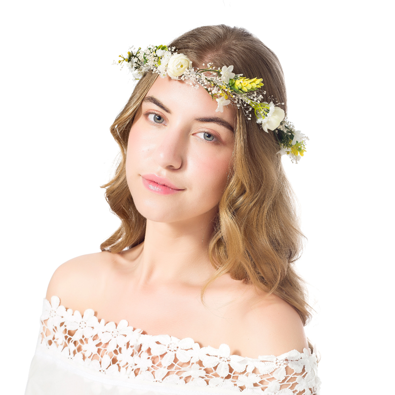 Real small white Flower Wreath bridal headband headdress ornament Kids children Flower Crown hair accessories adjustable garland,Picture color