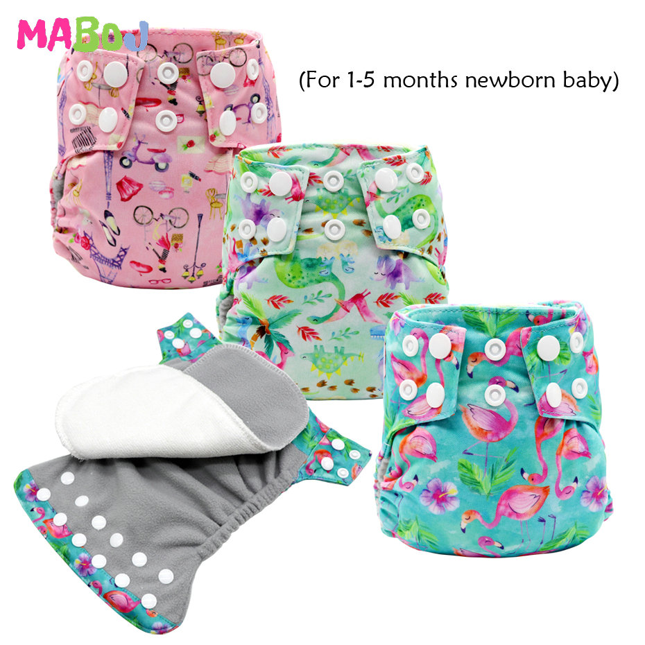 MABOJ Newborn Cloth Diaper AI2 All In Two Cloth Nappies Bamboo Cloth Diapers Stay-dry Solution Waterproof Comfortable Resuable