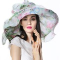 Women Organza Hat Derby Church Wedding Beach Cocktail Evening Party Summer Sun Cap Vintage Dress Fedora Wide Brim Scarf With Hat