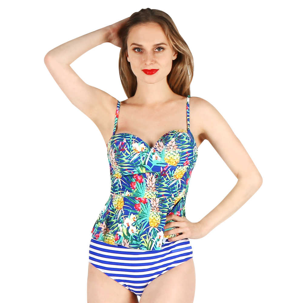 one-piece women swimwear sexy sling halter deep v blue striped flower printed large size bathing swimsuit push up female women one piece triangle swimsuit cover up sexy v neck strappy swimwear dot dress pleated skirt large size bathing suit 2017