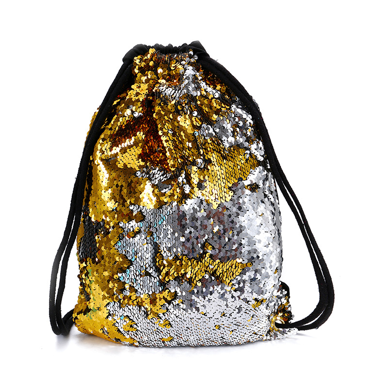 Miyahuose Sequin Design Women Drawstring Bag Fashion Summer Female Beach Drawstring Bag Multifunction Drawstring Bag For Student
