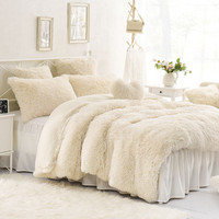 High Quality Purple Blue Pink Creamy White Cashmere Wool Velvet Ruffle Duvet Cover Bedding Sets Bed