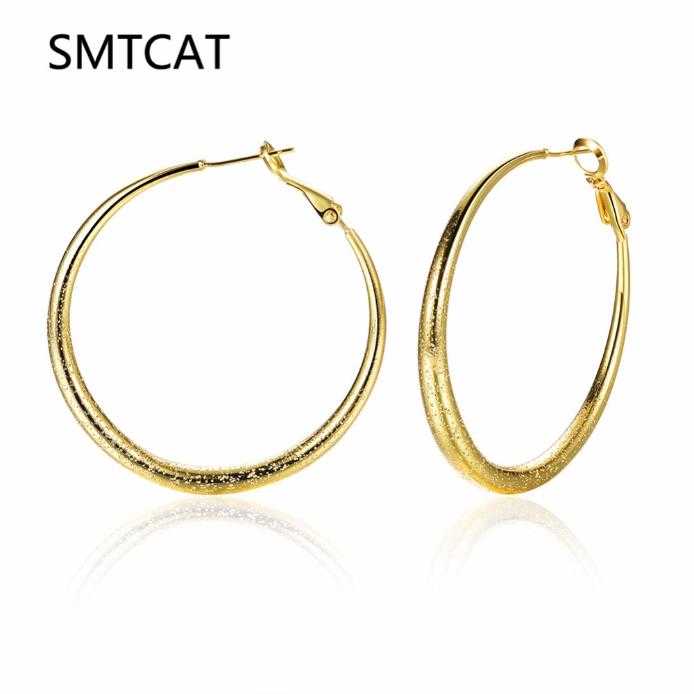 Big Round Earrings Basketball Wives Silver/Rose/Gold Color Fashion Jewelry 41mm Diameter Large Circle Huggie Hoop Earrings Women