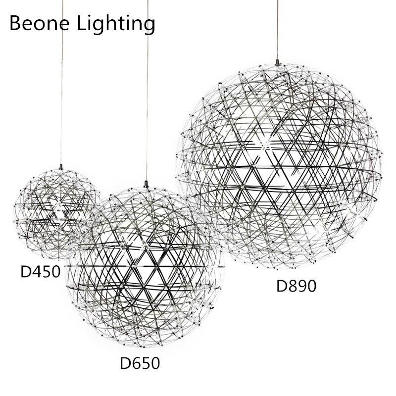 D80cm 92 светодиодный S Нержавеющаясталь мяч светодиодный фейерверк подвесные светильники для ресторана кафе-бар Обеденная домашние освещен...