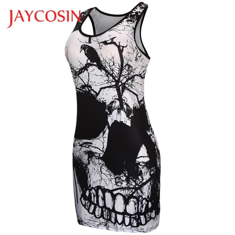 JAYCOSIN Newly Design Women Punk Style Skull Print Sexy Tight Short Mini Club Party Dress Plus Size Sleeveless Sundress 170622