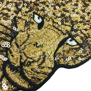 Image 5 - Patch brodé léopard en perles, 2 pièces, à coudre sur paillettes, Appliques danimaux, patchs brodés pour vêtements, AC1472