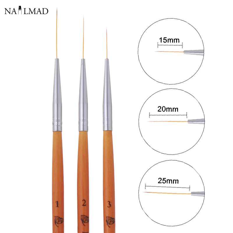 15/20/25mm 3pcs Nail Art Liner Brush Ultra Fine Brush Wooden Handle French Stripe Flower Painting Drawing Pen Manicure Tool