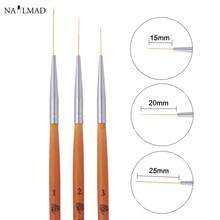 Pincel para arte em unhas 15/20/25mm, pincel ultra fina e compacta de madeira, com cabo de madeira, arte francesa caneta de desenho para manicure