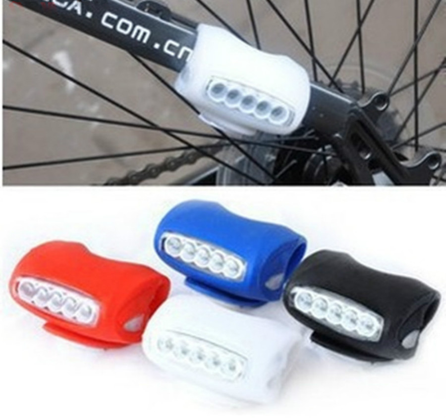Bicycle Light Silicone Bike Bicycle Cycling Head Front Rear Wheel 5 LED Flash Light Lamp free shipping Hot Selling wholesale