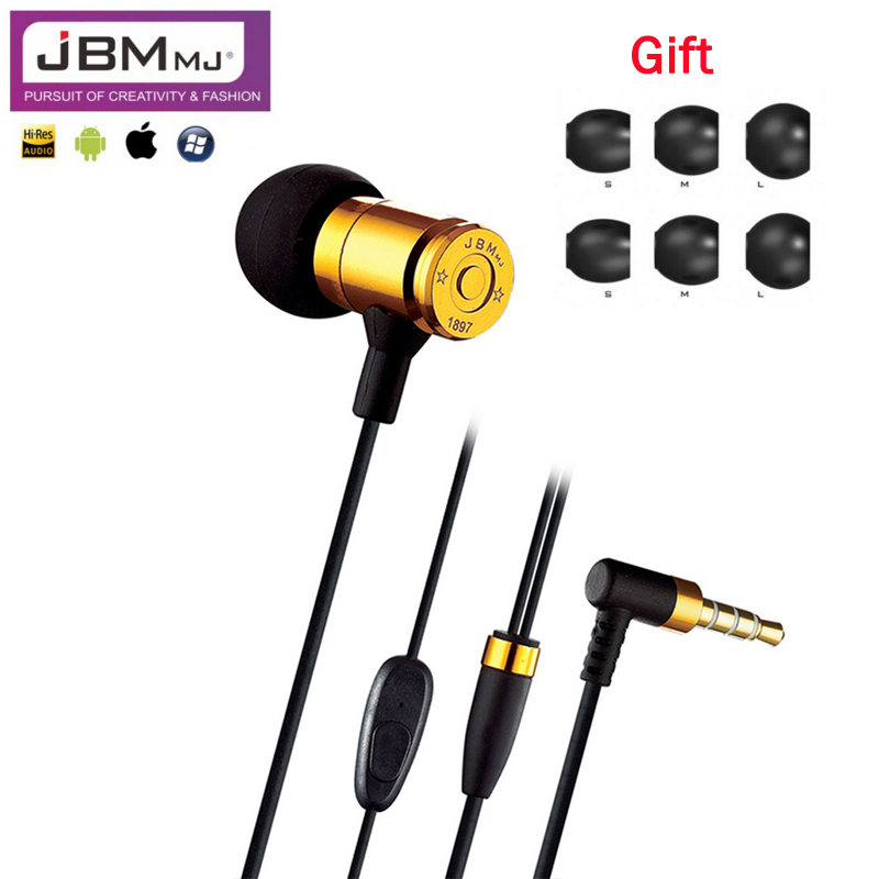 Original JBM MJ007 Bullet Earphone Heavy Metal In-Ear Headset Phone Earphones For iphone samsung xiaomi mobile phone PC MP3 MP4 ufo pro metal in ear earphones treadmill female drug sing karaoke audio headset diy mobile phone