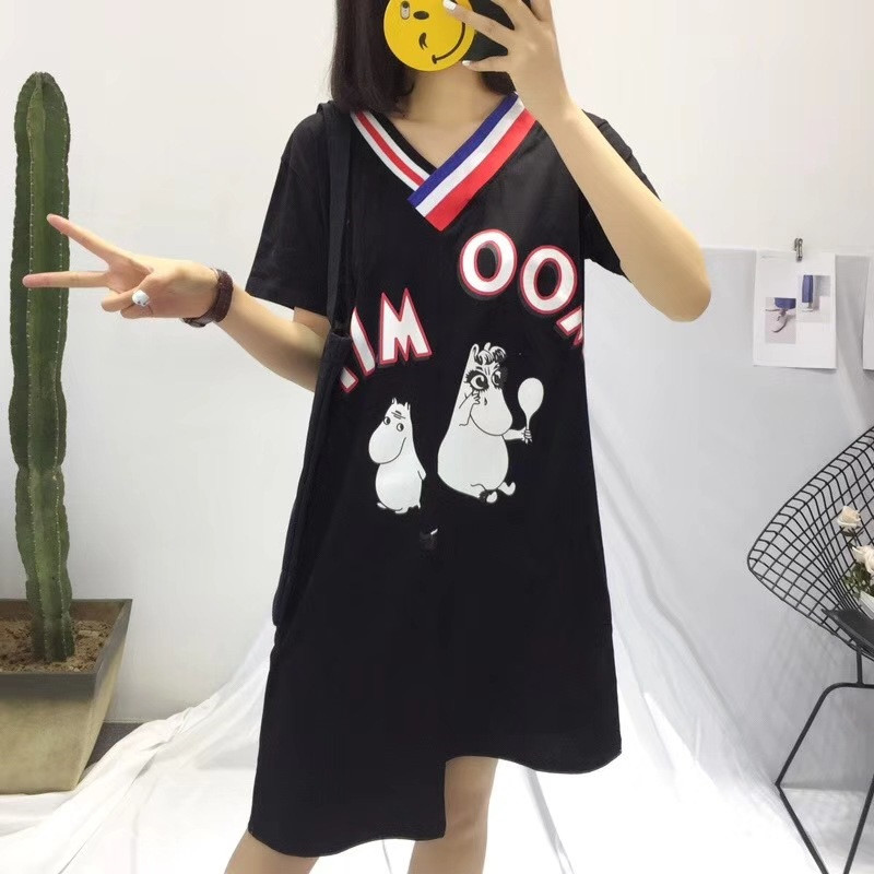 Moomin British College Wind Large Size V-neck Cartoon Short-sleeved T-shirt Spring And Summer Printing Long Dress Moomin