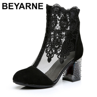 BEYARNEWomen's Shoes Lace Genuine Cow Leather Spring Summer Fashion Boots High Heels Round Toe Mid Calf Boots Shoe Plus SizeE262