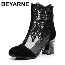Beyarne zapatos de encaje de piel de vaca auténtica para mujer, botas a la moda, de tacón alto y punta redonda, para primavera y verano, talla grande SizeE262