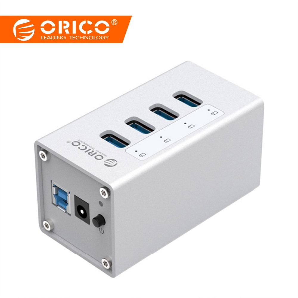 ORICO Aluminium 4 Port USB 3.0 HUB Höghastighets 5 Gbps Multi USB - Datortillbehör