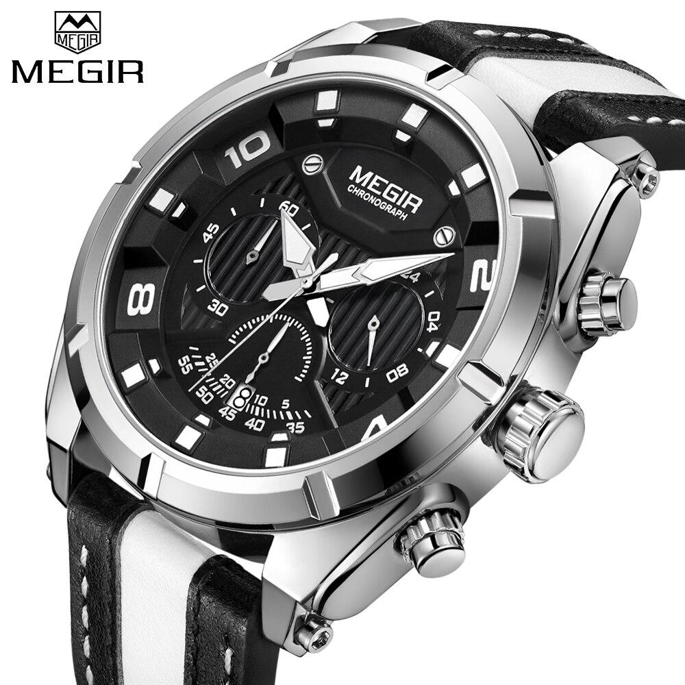 MEGIR Лидирующий бренд Для мужчин творческий большой циферблат Роскошные модные Кварцевые наручные часы Водонепроницаемый спортивные часы Д...