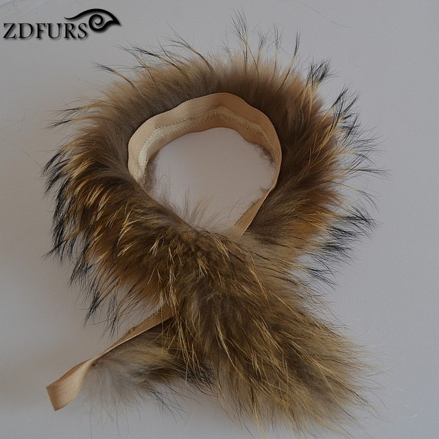 ZDFURS * Gola De Pele Real de 100% Genuine Raccoon Fur Lenço 68 cm * 11 cm Guarnição Da Pele de Revestimento Para Baixo Tira de pele Com Capuz/ZDC-163015