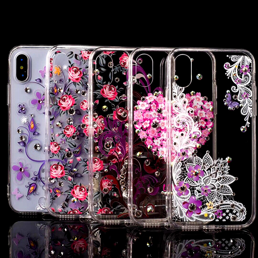 Luxury Glitter Slim Bling Flower Diamond Case For iPhone 6 6S 7 8 X 7Plus Hard PC back cover and TPU bumper Suprem Case with box