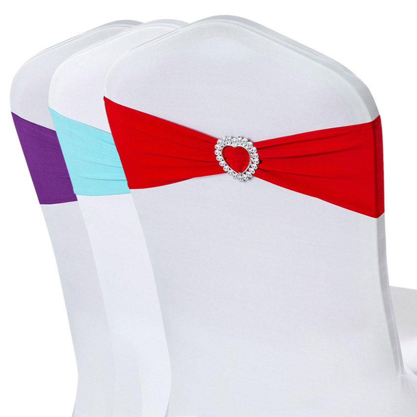 50pcs Spandex Lycra Wedding Chair Cover Sash Bands Wedding Party Birthday Chair Decor Royal Blue Red Black White Pink Purple