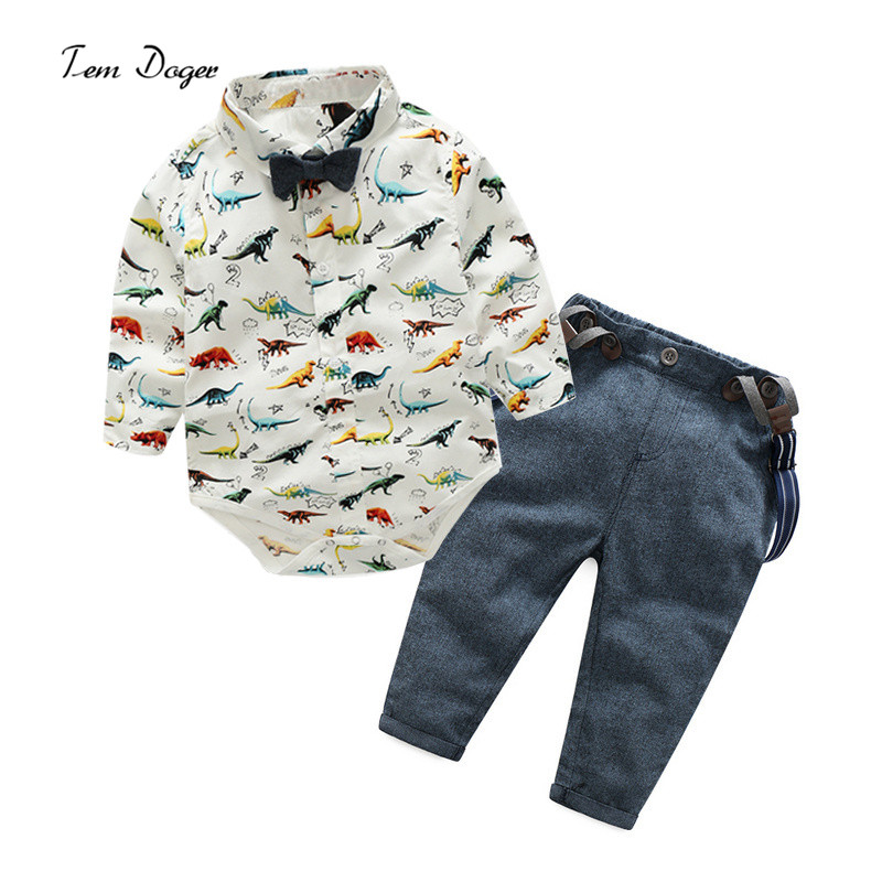 Tem Doger Baby Boys Clothing sets Infant Gentleman Long Sleeve Cartoon Dinosaurs Shirt + Overalls + Bow tie Newborn Clothes Suit cotton baby rompers set newborn clothes baby clothing boys girls cartoon jumpsuits long sleeve overalls coveralls autumn winter