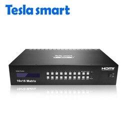 Tesla smart 16 x16 4K2K di Alta Qualità 16 in 16 out HDMI Matrix con RS232/LAN 2 Pcs 2U Cremagliera orecchie Ultra HD 4 K Full HD 1080 P 3D