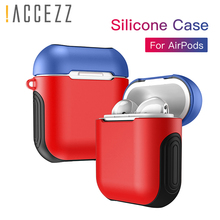 !ACCEZZ Silicone Earphone Case For Airpods Bluetooth Wireless Charge Protective Cover Headphone With Outdoor Hook Protection Box