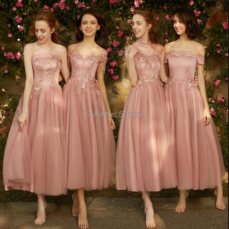 YNQNFS BD6 Elegant Strapless Sleeveless Vintage Tea Length   Bridesmaid     Dresses   Party   Dress   Pale Mauve Real Pictures