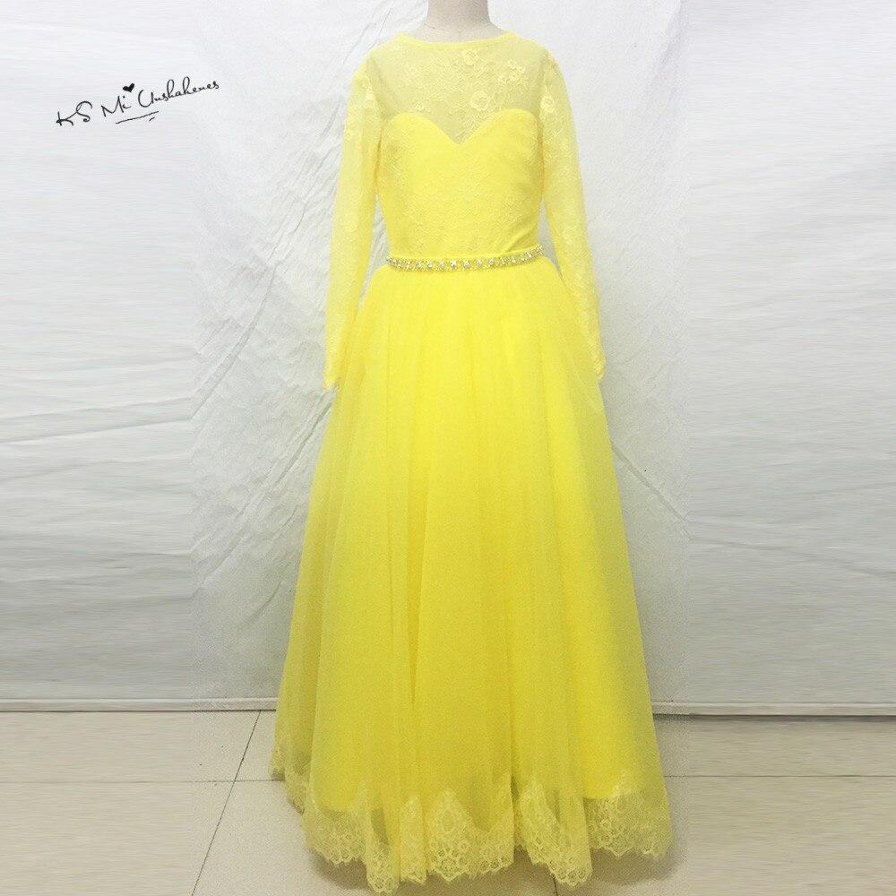 Yellow Long Sleeve   Flower     Girl     Dresses   for Weddings Kids Prom   Dress   2017 Pageant   Dresses   for   Girls   Glitz Graduation   Dress   Kids