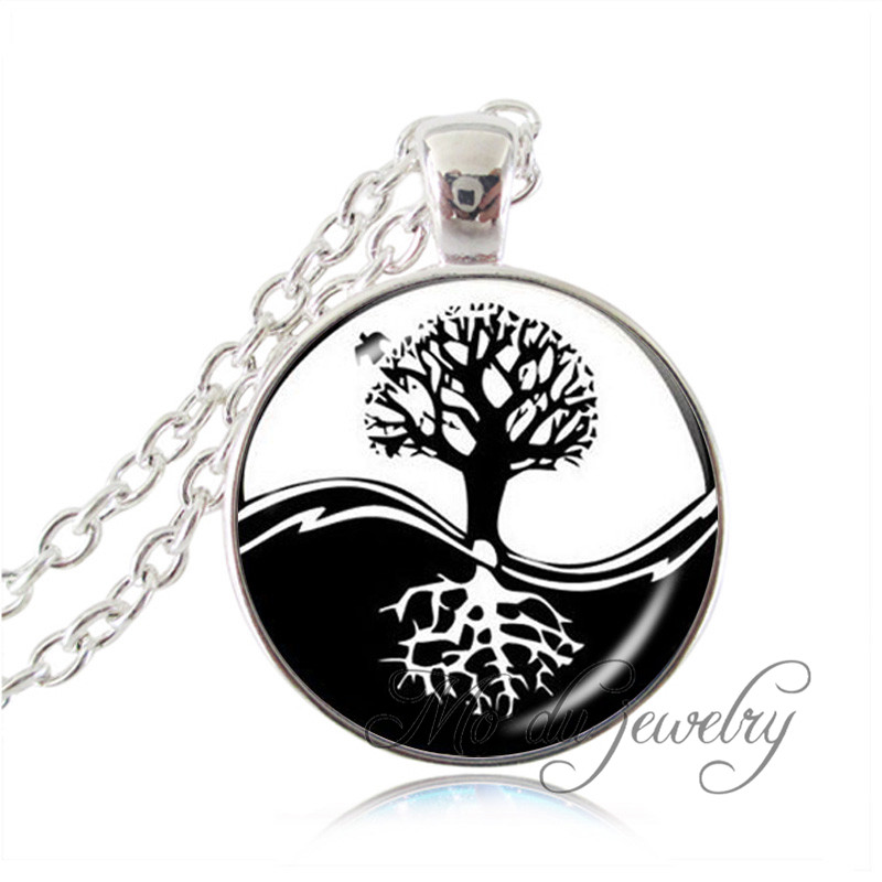 Yin Yang Colgante Collar Negro Blanco Taichi Cruz Joyería árbol De