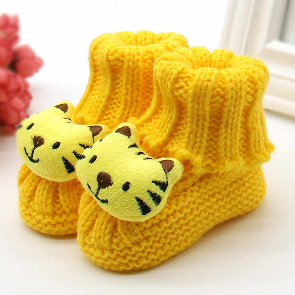 Newborn Infant Baby Shoes Toddler Girls Winter Warm Crochet Knit Fleece Booties Newborns Bow Snow Shoes Baby Walker Crib Boots