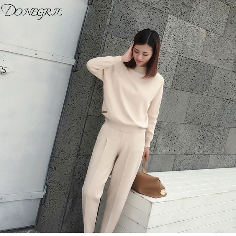 2019new Cashmere Cotton Wool Blend Thick Knit Women Fashion Sweatshirts Tracksuit Pullover Pant 2pcs/set Beige 4color S-XL