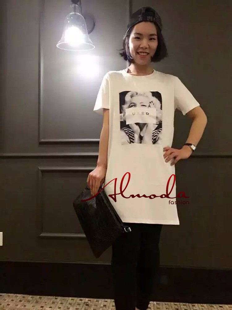71f2d041cb58c Almoda 2016 mujeres del verano largas camisetas de manga corta clásica  larga impresa camisetas Pullovers blanco negro