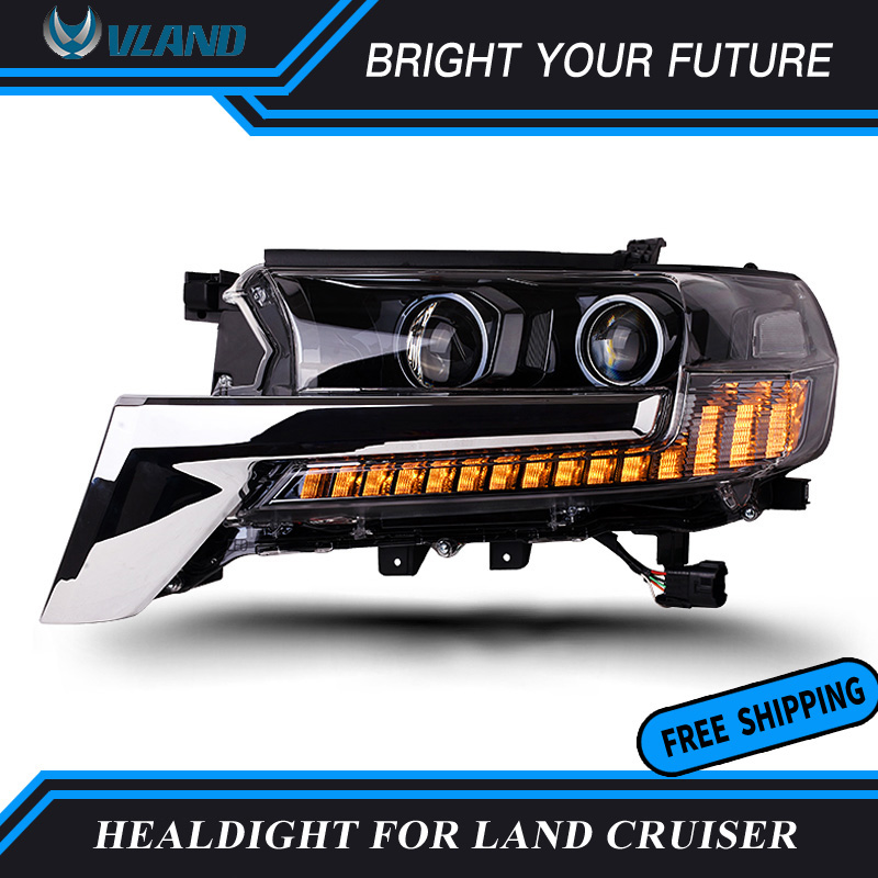 Car Head Lamp For Toyota Land Cruiser LC200 2016 2017 2018 LED Headlights DRL Daytime Running Light Toyota Land Cruiser