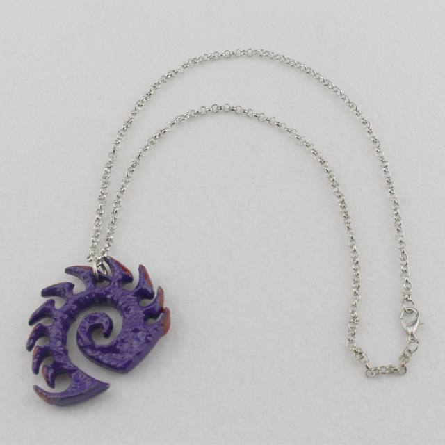 Starcraft necklace Zerg medallion Handmade epic pendant logo Sarah Kerrigan purple coated necklace good quality best gift 5