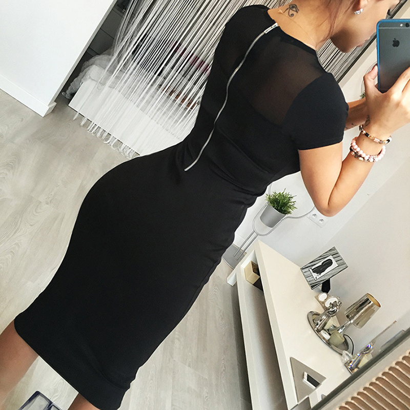 Fashionable Yarn Splicing Black with Zipper <font><b>Dress</b></font> with Short Sleeves <font><b>Dress</b></font> Up Knee-<font><b>Naughty</b></font> For Parties <font><b>Dresses</b></font> image