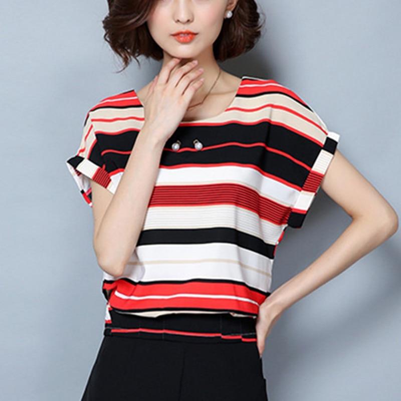 Womens Blouses Cotton Tops And Blouses Casual Short Sleeve Ladies Shirts Blue/Red Blusas Plus Size XXXL/5XL Blusa Feminina